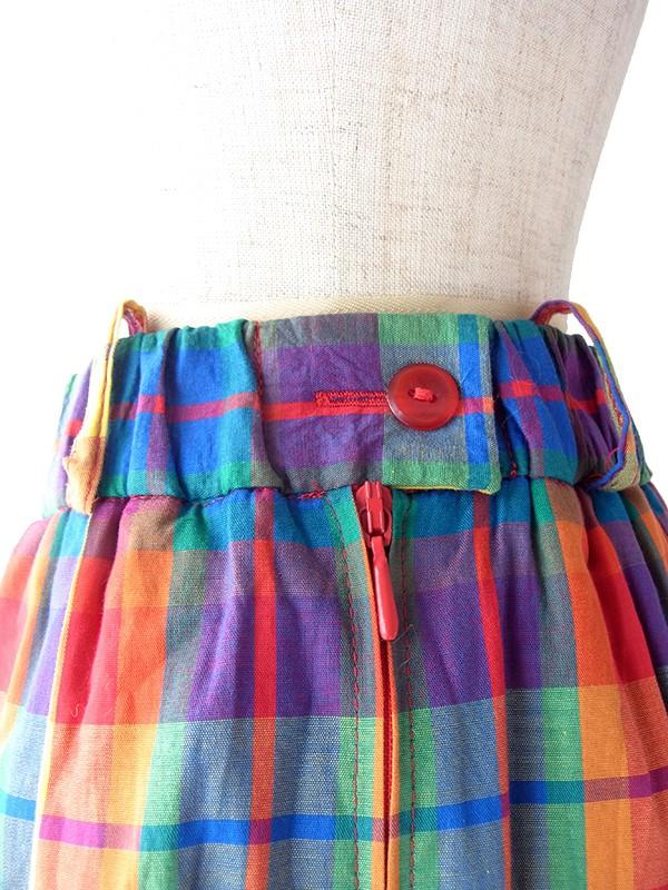 ヨーロッパ古着 ロンドン買い付け 70年代製 マドラスチェック X ハート柄 カットレース 裏地 裾リボン スカート 19BS221