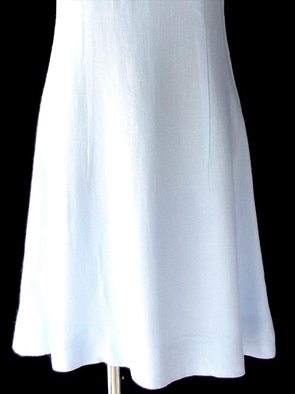 ヨーロッパ古着 フランス買い付け 60年代製 ホワイト X やわらかな水色 山道テープ ヴィンテージ ワンピース 19FC001