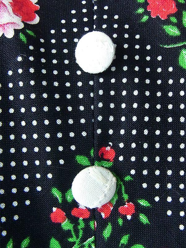 ヨーロッパ古着 フランス買い付け 60年代製 ブラック X ホワイト水玉・カラフル花柄 パフスリーブ ワンピース 19FC011