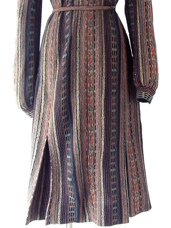 ヨーロッパ古着 フランス買い付け ブラック・ブラウン オリエンタル柄 共布ベルト付き ウール ワンピース 19FC020