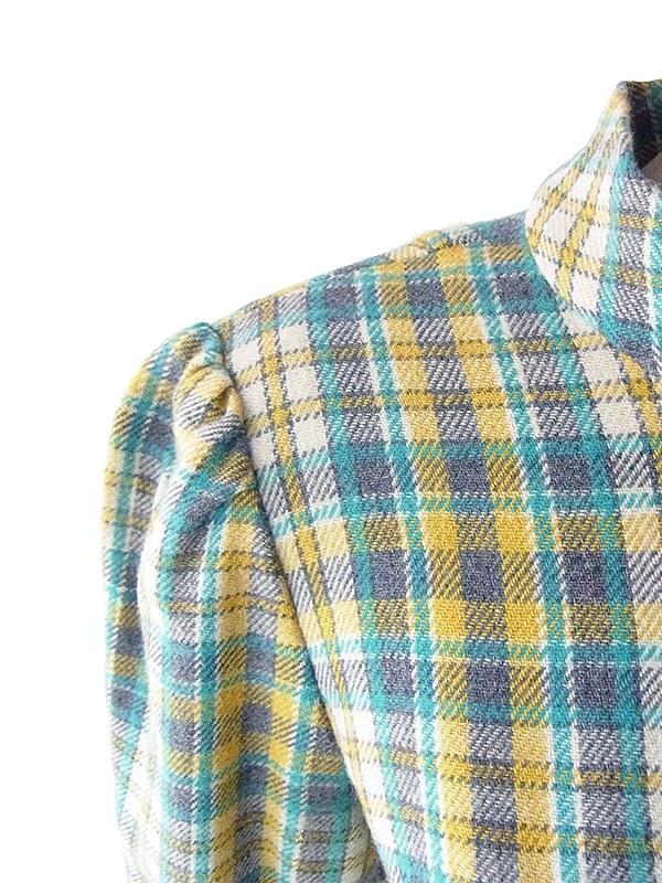 ヨーロッパ古着 フランス買い付け 60年代製 イエロー・ライトブルー・グレイ チェック柄 ポケット付き ウール ワンピース 19FC021