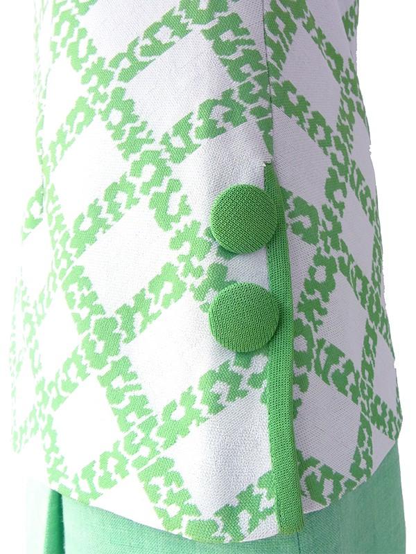 ヨーロッパ古着 70年代フランス製 グリーン X ライトグレイ サイドに飾りボタン ヴィンテージ トップス 19FC113