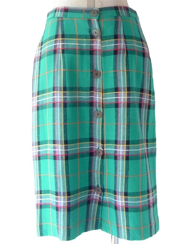 ヨーロッパ古着 フランス買い付け 60年代製 グリーン X カラフル タータンチェック ステッチ ヴィンテージ スカート 19FC116