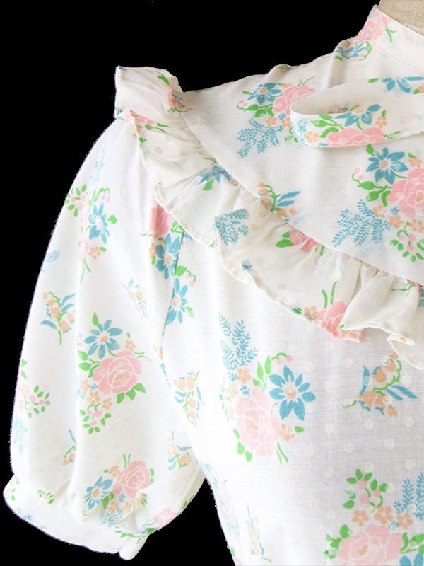 ヨーロッパ古着 フランス買い付け 60年代製 オフホワイト X ホワイト水玉・パステルカラー花柄 共布ベルト付き ワンピース 19FC203