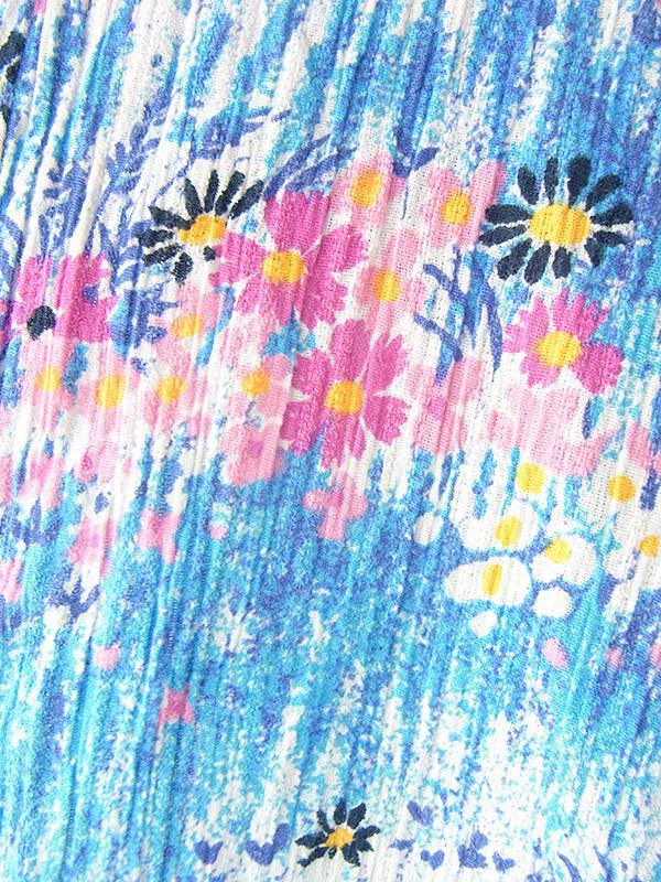 ヨーロッパ古着 60年代フランス製 水色 X カラフル花柄 経方向に凹凸が走る生地 ヴィンテージ ワンピース 19FC204
