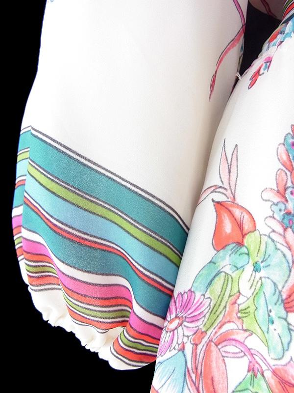 ヨーロッパ古着 フランス買い付け 70年代製 アイボリー X カラフル花柄イラスト・ストライプ 共布ベルト付き ワンピース 19FC213