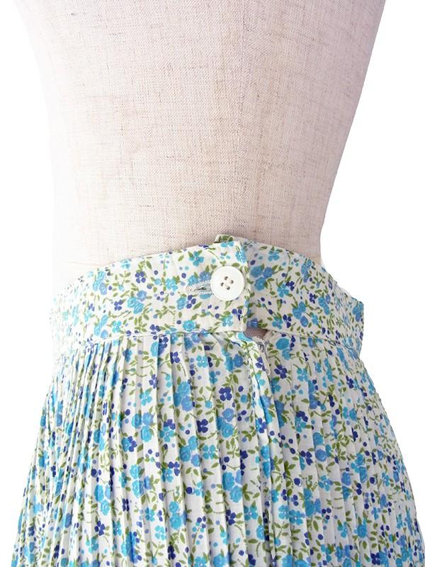ヨーロッパ古着 フランス買い付け グリーン・水色 小花柄 ギャザーフリル付き アンブレラプリーツ スカート 19FC217