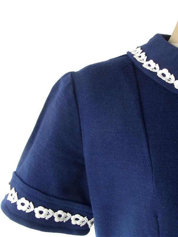 ヨーロッパ古着 フランス買い付け 60年代製 ネイビー X ホワイト 花柄刺繍テープ ヴィンテージ ワンピース 19FC307