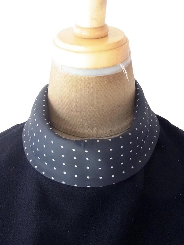 ヨーロッパ古着 フランス買い付け 60年代製 ブラック X 水玉 襟・袖口 Aライン ウール ワンピース 19FC311
