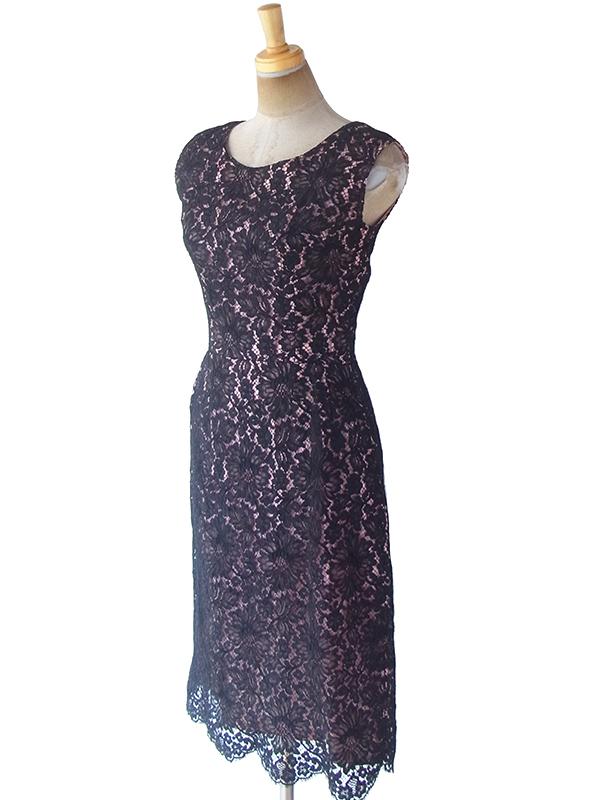 ヨーロッパ古着 フランス買い付け 70年代製 ブラック X 裏地ピンク 繊細な花柄総レース ドレス 19FC409