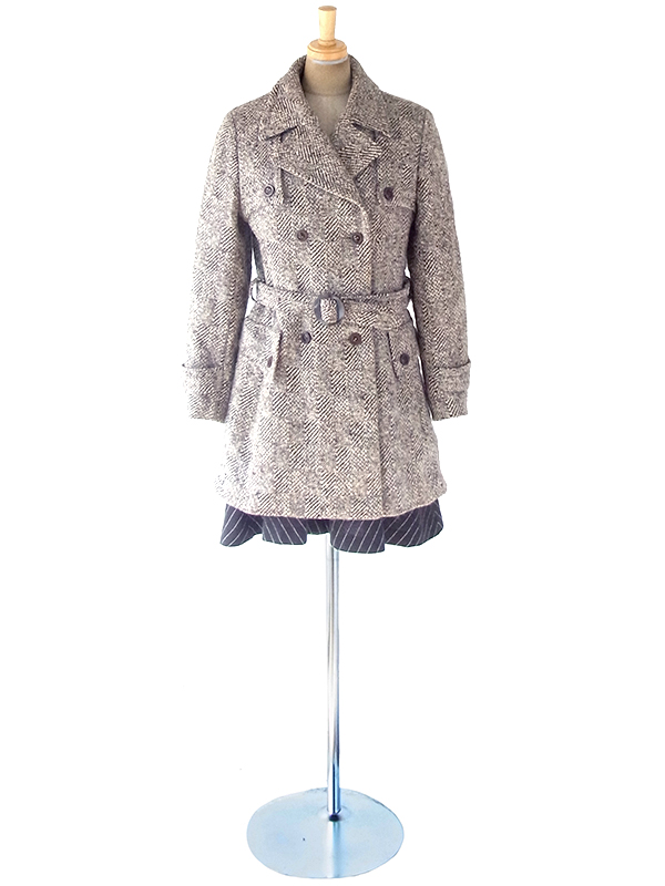 ヨーロッパ古着 フランス買付け 60年代製 厚手 共布ベルト付き ウール ツイード コート 19FC416