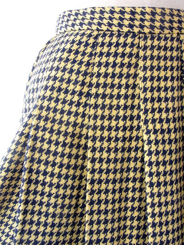 ヨーロッパ古着 60年代フランス製 イエロー X ネイビー 千鳥格子 左サイドボタン留め ポケット付き スカート 19FC422
