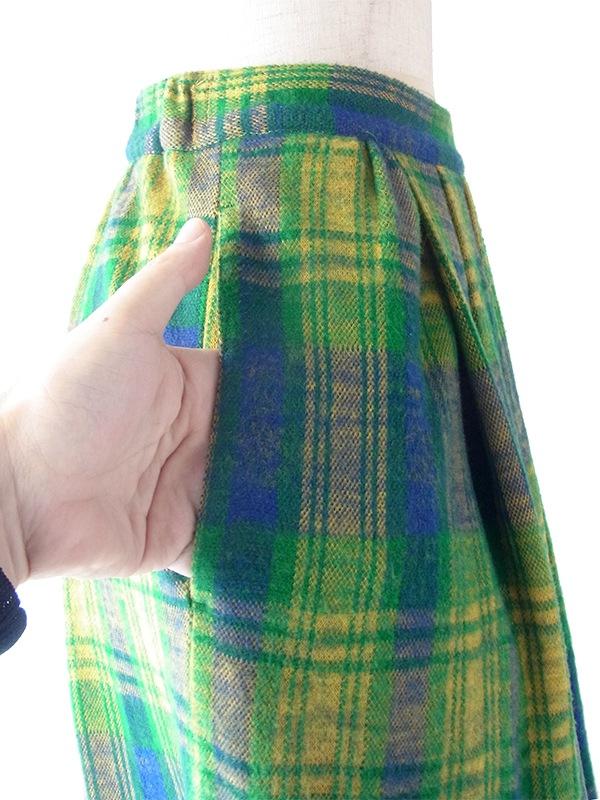 ヨーロッパ古着 フランス買い付け 60年代製 グリーン X イエロー・ブルー 右サイドボタン スカート 19FC423