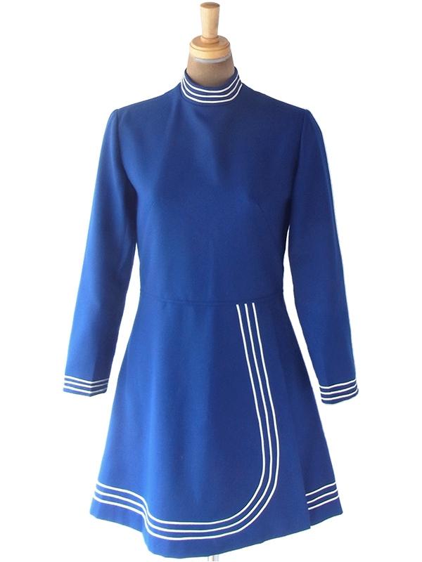 ヨーロッパ古着 フランス買い付け70年代製 ブルー X ホワイト ライニング スカート前合わせ ワンピース 19FC428