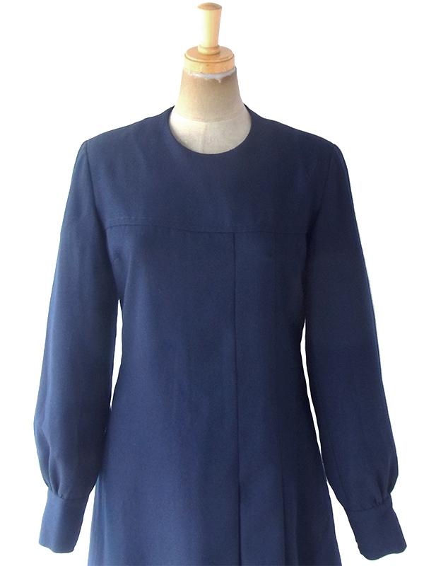 ヨーロッパ古着 フランス買い付け 60年代製 ネイビー X シーム・プリーツデザイン ウール ワンピース 19FC504