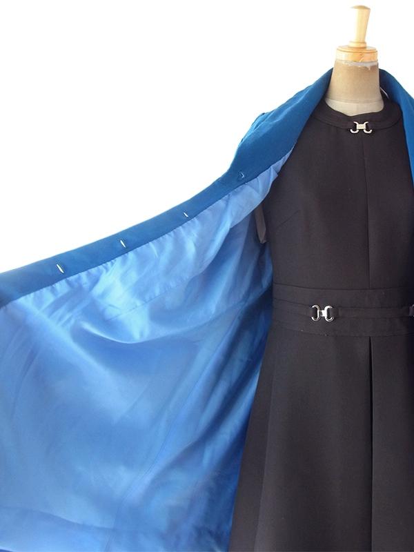 ヨーロッパ古着 フランス買い付け 60年代製 ロイヤルブルー 美麗シルエット ヴィンテージ ウール コート 19FC521