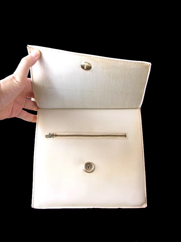 ヨーロッパ古着 フランス買い付け 60年代製 アイボリー X 二重蓋 レザー ハンドバッグ 19FC524