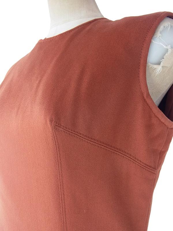 ヨーロッパ古着 ロンドン買い付け 60年代製 ダークオレンジ X シーム・ステッチ ヴィンテージ ウール ワンピース 19OM000