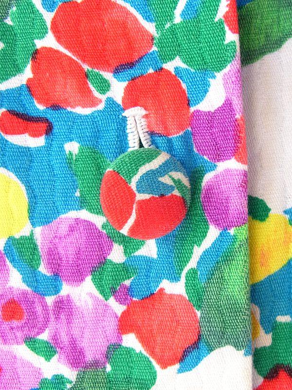 ヨーロッパ古着 ロンドン買い付け 60年代製 ブルー X カラフル花柄 凹凸でパターンの浮かぶ生地 ヴィンテージ ワンピース 19OM1004