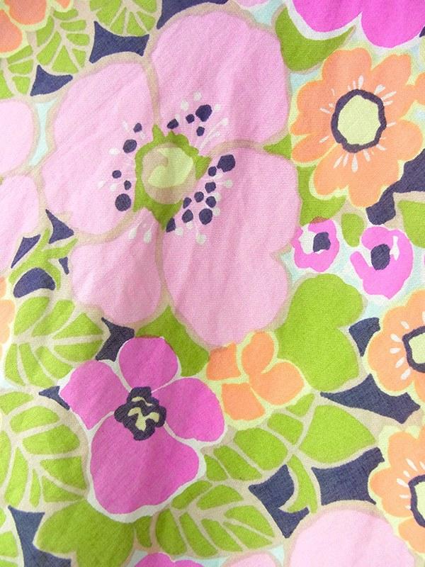 ヨーロッパ古着 ロンドン買い付け 60年代製 ブラック X カラフル花柄 黄緑パイピング ヴィンテージ ワンピース 19OM102