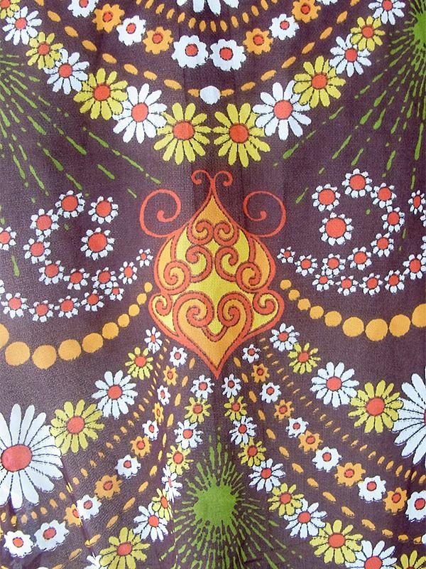 ヨーロッパ古着 ロンドン買い付け 70年代製 ブラウン X カラフルなアラベスク模様 ヴィンテージ ワンピース 19OM120