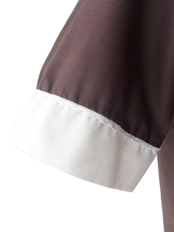 ヨーロッパ古着 ロンドン買い付け 60年代製 ブラウン X レース縁取り襟・袖 レッドくるみボタン・ステッチ トップス 19OM133