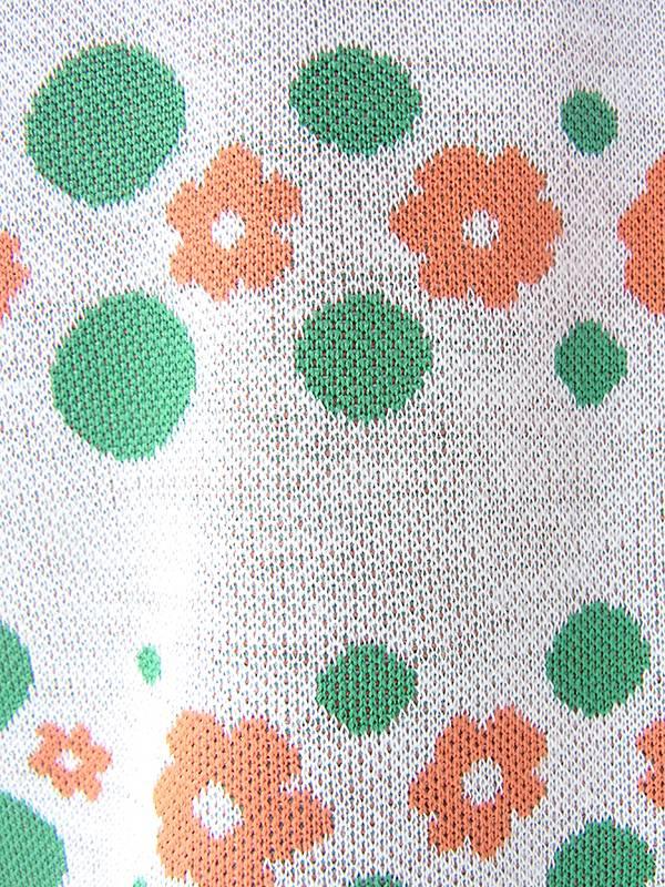 ヨーロッパ古着 ロンドン買い付け 60年代製 ライトグレイ X グリーン・オレンジ 花柄・水玉 レトロ ワンピース 19OM200