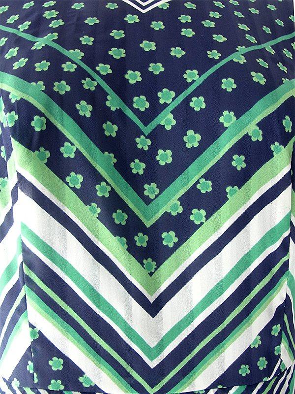 ヨーロッパ古着 ロンドン買い付け 70年代製 ブラック X グリーン・ホワイト マーガレット・バイアス柄 総プリーツ ワンピース 19OM202