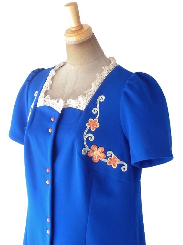 ヨーロッパ古着 ロンドン買い付け 70年代製 ブルー X オレンジ・イエロー 花柄刺繍 レース襟 ワンピース 19OM701
