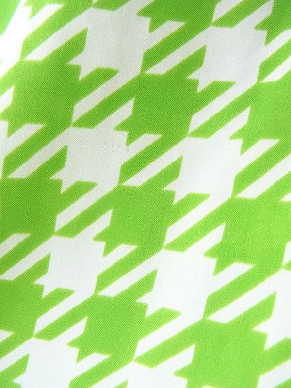 ヨーロッパ古着 ロンドン買い付け 70年代製 ライムグリーン X ホワイト 水玉・ブロックチェック リボンタイ ワンピース 19OM705