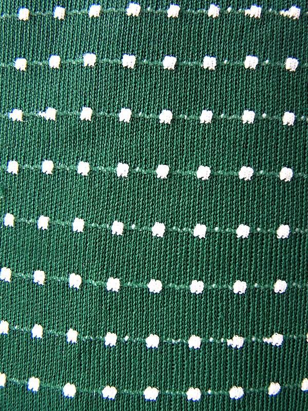 ヨーロッパ古着 ロンドン買い付け 70年代製 グリーン X ホワイト ドット刺繍 レーステープ パフスリーブ ワンピース 19OM805