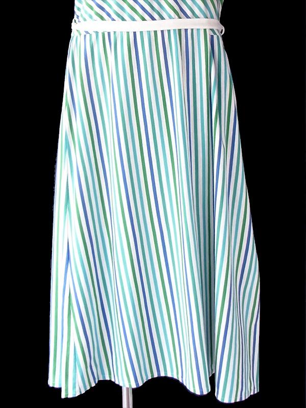 ヨーロッパ古着 ロンドン買い付け 70年代製 ブルー X ホワイト X グリーン ボーダー・ストライプ ベルト付き ワンピース 20BS016