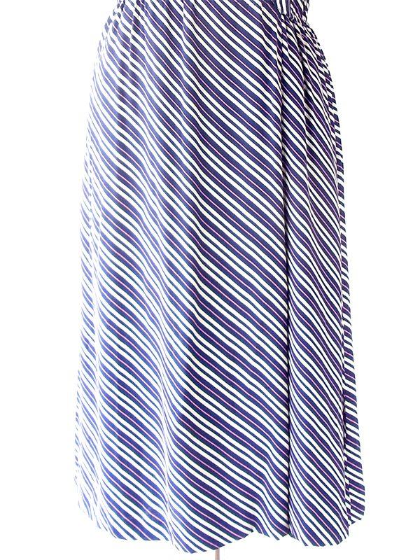 ロンドン買い付け 70年代製 ブルー・ピンク X オフホワイト 斜めストライプ ギャザーフリル ワンピース 20BS021