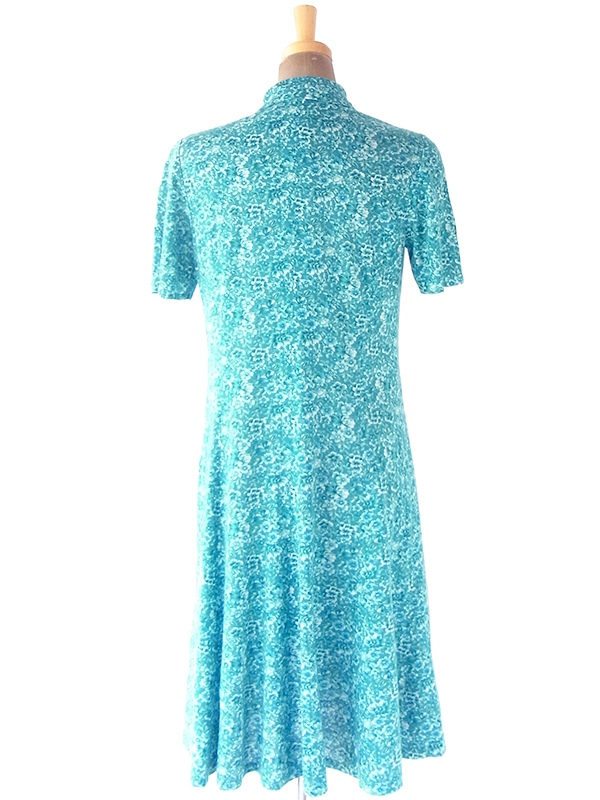 ヨーロッパ古着 ロンドン買い付け 70年代製 ターコイズブルー X 花柄 胸元フロントジップ ヴィンテージ ワンピース 20BS030