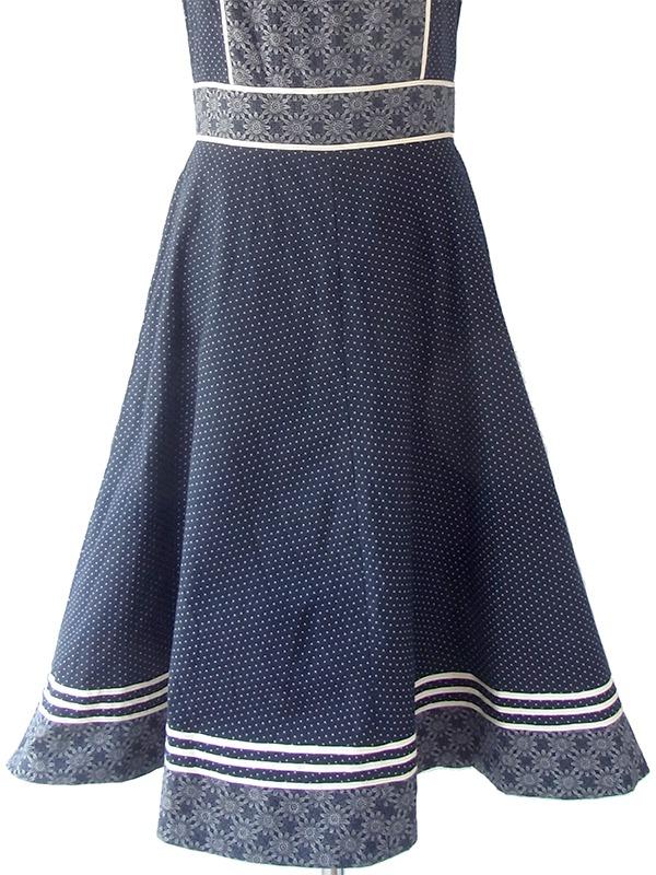 ヨーロッパ古着 ロンドン買い付け 60年代製 モノトーン X 花柄・水玉 ホワイトライニング ヴィンテージ ワンピース 20BS033