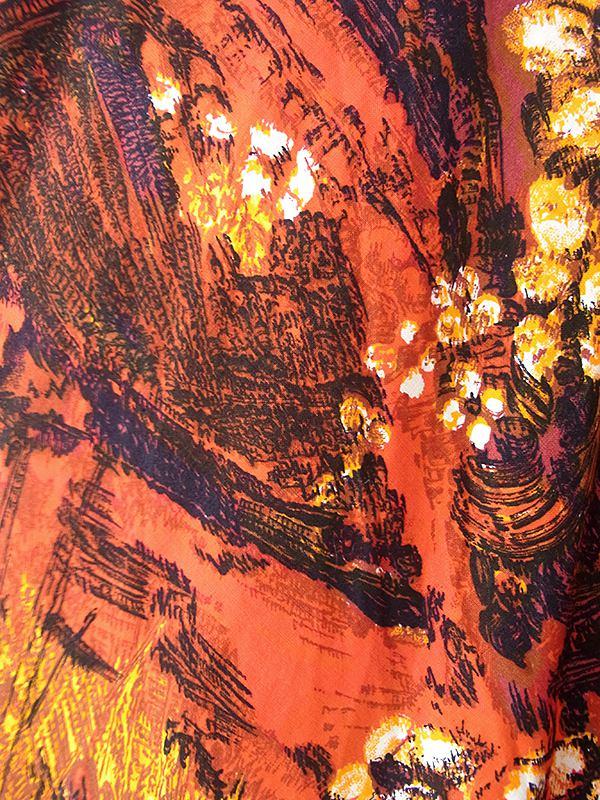 ヨーロッパ古着 ロンドン買い付け 70年代製 オレンジを基調とした絵画のようなプリント ロング スカート 20BS057