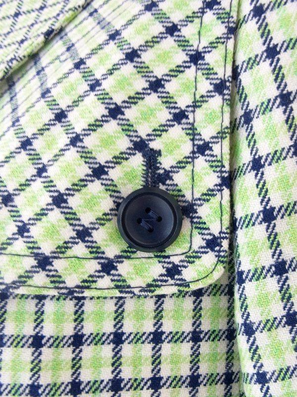ヨーロッパ古着 ロンドン買い付け グリーン・ブルー・ホワイト チェック柄 比翼仕立て Aライン コート 20BS101