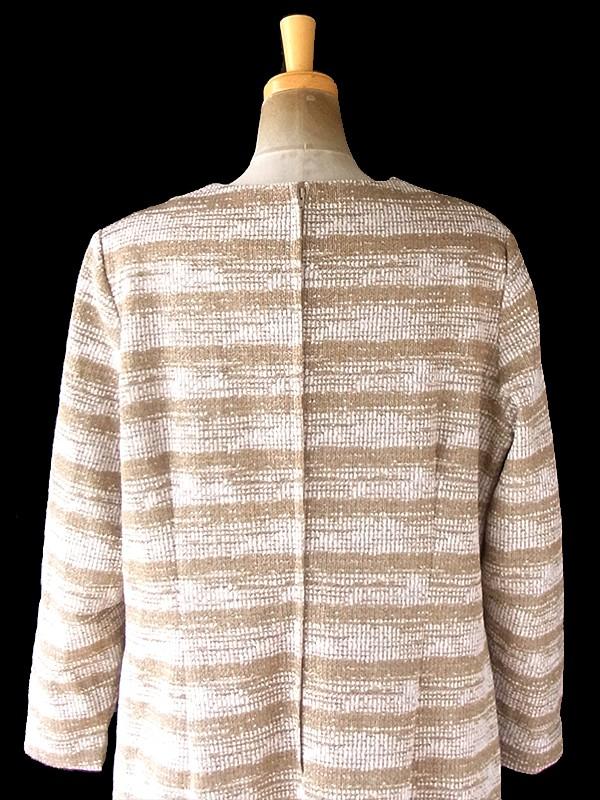 ヨーロッパ古着 60年代イギリス製 ゴールドラメ 糸織 ボーダー ヴィンテージ ワンピース 20BS105