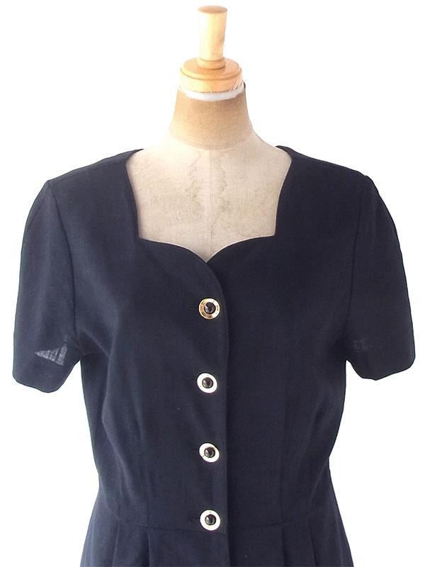ヨーロッパ古着 ロンドン買い付け 60年代製 ブラック X ゴールド ボタン ヴィンテージ ドレス 20BS108