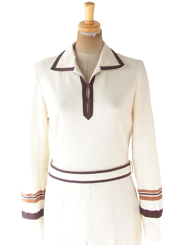 ヨーロッパ古着 ロンドン買い付け 60年代製 オフホワイト X ブラウン 共布ベルト付き ヴィンテージ ワンピース 20BS117