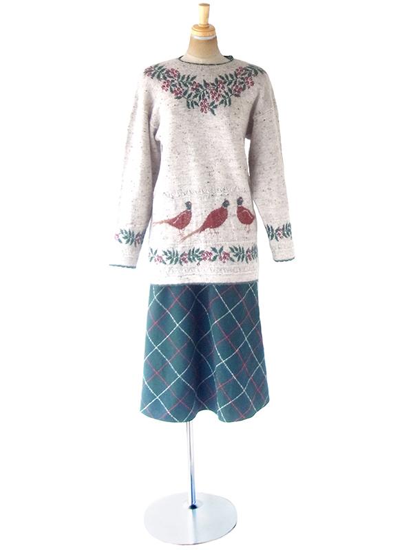 ヨーロッパ古着 ロンドン買い付け 60年代製 グリーン X レッド・ホワイト チェック柄 ウールスカート 20BS126