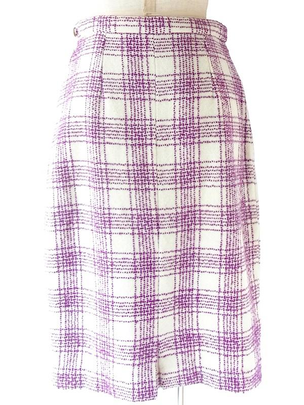 【ヨーロッパ古着】ロンドン買い付け 60年代製 オフホワイト X パープル チェック柄ステッチ ウールスカート 20BS127【おとなかわいい】