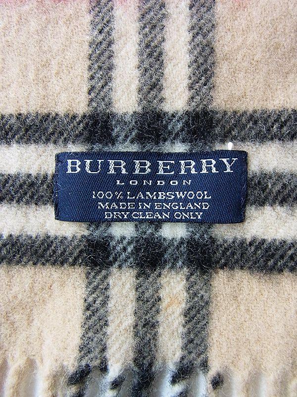 ヨーロッパ古着 イギリス製 BURBERRY バーバリー X チェック柄 ウール マフラー 20BS129