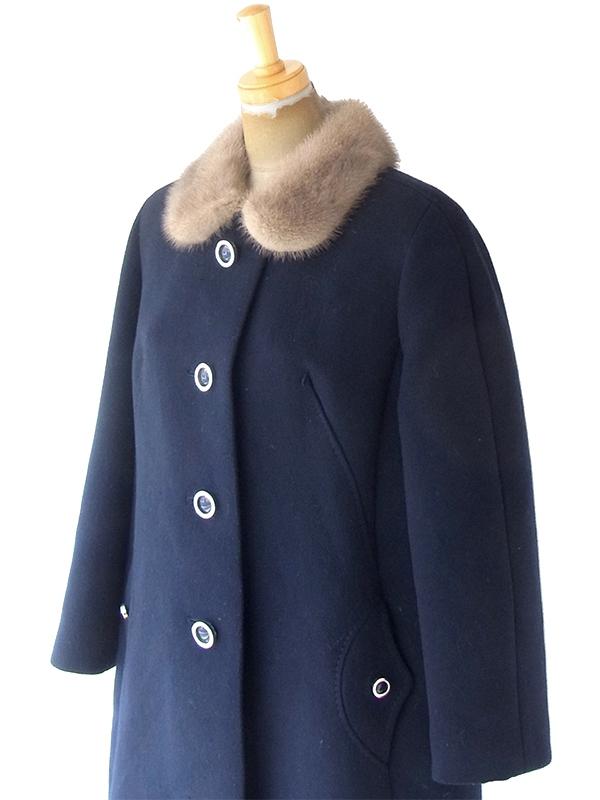 ヨーロッパ古着 ロンドン買い付け 60年代製 ネイビー X リアルファー襟 ヴィンテージ コート 20BS202