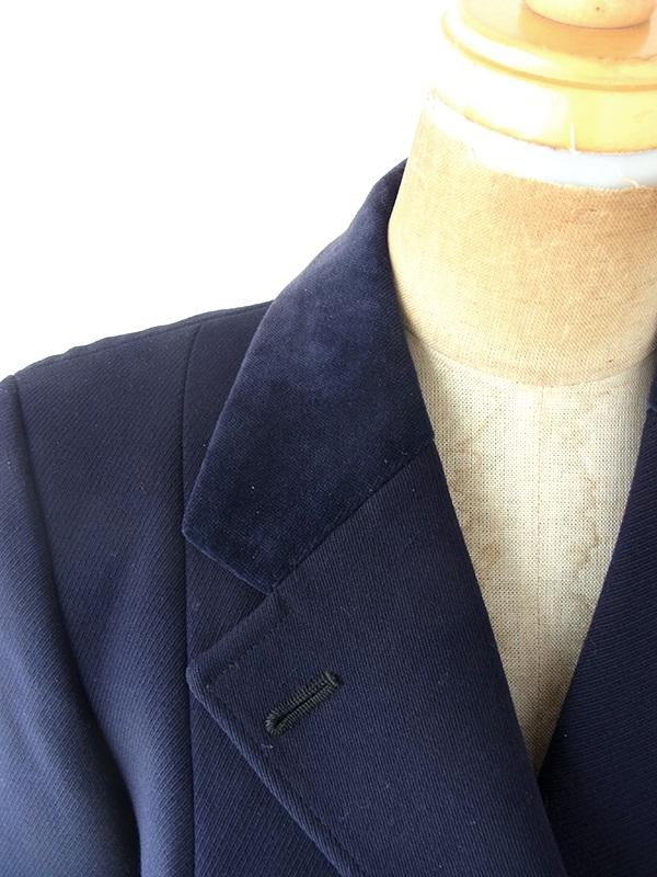 ヨーロッパ古着  60年代イギリス製 ネイビー X 襟 ベロア生地切り返し ウール ジャケット 20BS204