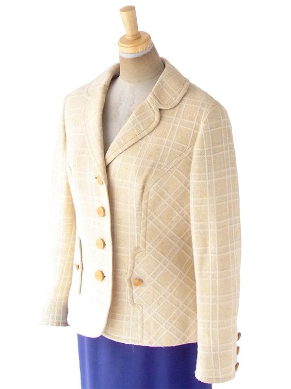 ヨーロッパ古着 ロンドン買い付け 60年代製 ライトベージュ X ホワイト 格子柄 ステッチ ヴィンテージ ウール ジャケット 20BS207