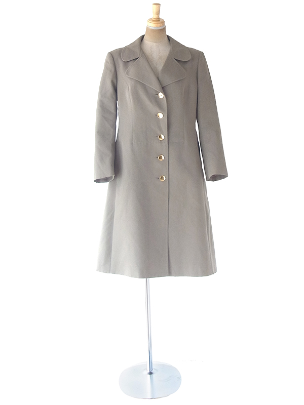 ヨーロッパ古着 ロンドン買い付け 60年代製 ライトグレイ X ゴールドボタン ウール コート 20BS208