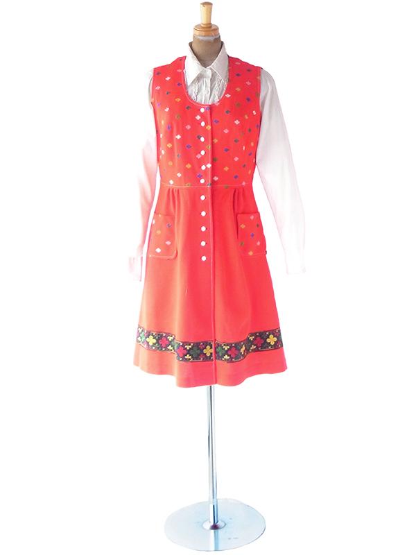 ヨーロッパ古着 ロンドン買い付け 70年代製 レッド X カラフル花柄刺繍 ポケット付き チロリアン ワンピース 20BS216