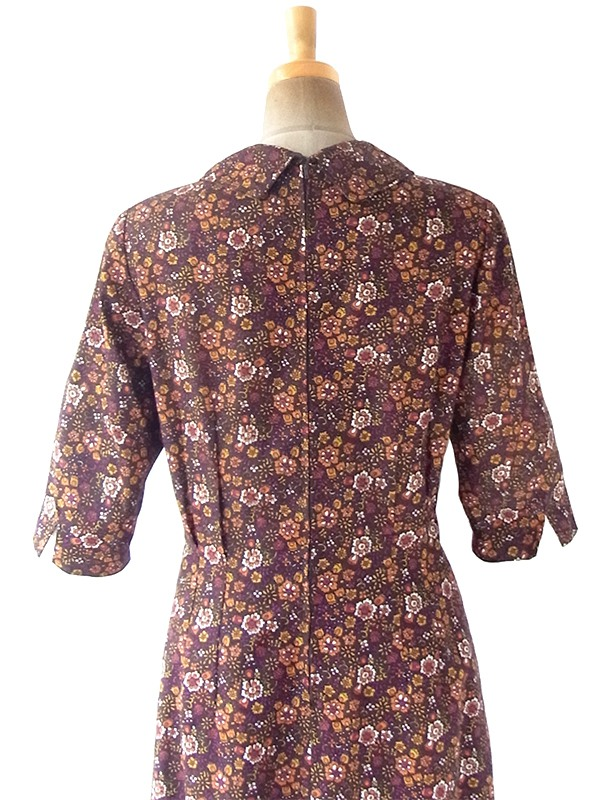 ヨーロッパ古着 ロンドン買い付け 60年代製 ブラウン X カラフル 花柄 ヴィンテージ ワンピース 20BS220