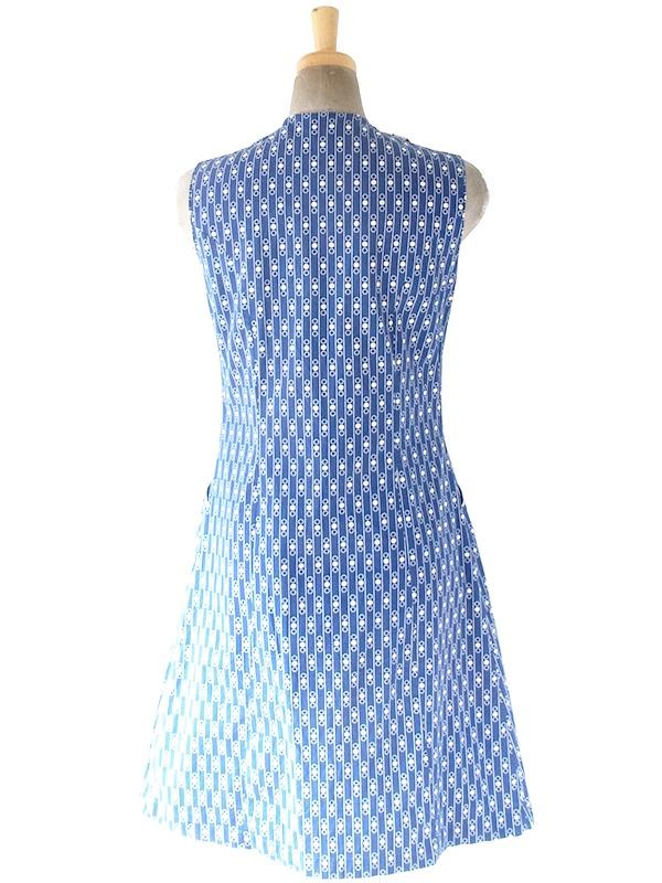 ヨーロッパ古着 フランス買い付け 60年代製 ブルー X ホワイト 水玉・ストライプ 生地切り返し ポケット付き  ワンピース 20FC004